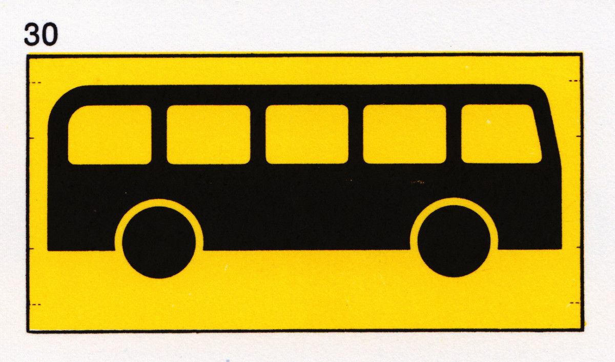 British Airports Authority 'Buses/Coaches' symbol designed by Andrew Haig, published 1972